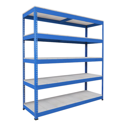Rapid 1 Heavy Duty Shelving (1980h x 2134w) Blue - 5 Galvanized Shelves