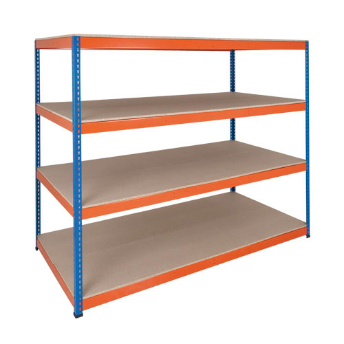 Rapid 1 Heavy Duty Shelving (1980h x 2440w) Blue & Orange - 4 Chipboard Shelves