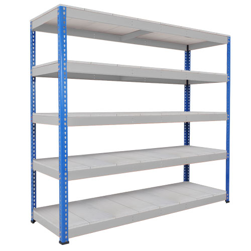 Rapid 1 Heavy Duty Shelving (1980h x 2440w) Blue & Grey - 5 Galvanized Shelves