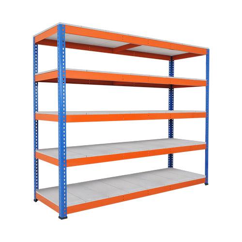 Rapid 1 Heavy Duty Shelving (1980h x 2440w) Blue & Orange - 5 Galvanized Shelves