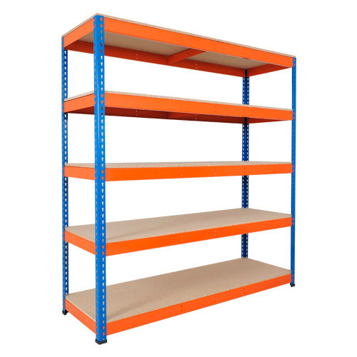 Rapid 1 Heavy Duty Shelving (2440h x 1525w) Blue & Orange - 5 Chipboard Shelves