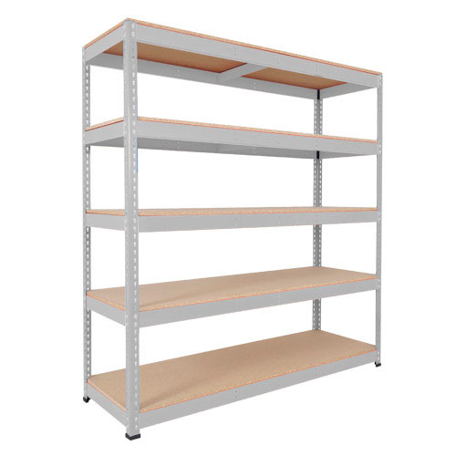 Rapid 1 Heavy Duty Shelving (2440h x 1525w) Grey - 5 Chipboard Shelves