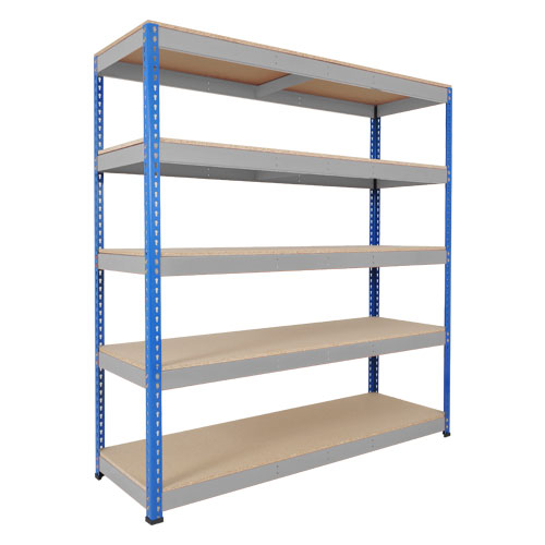 Rapid 1 Heavy Duty Shelving (2440h x 1525w) Blue & Grey - 5 Chipboard Shelves