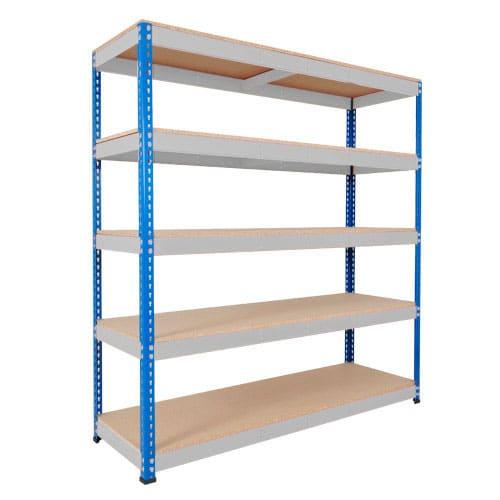Rapid 1 Heavy Duty Shelving (2440h x 1830w) Blue & Grey - 5 Chipboard Shelves