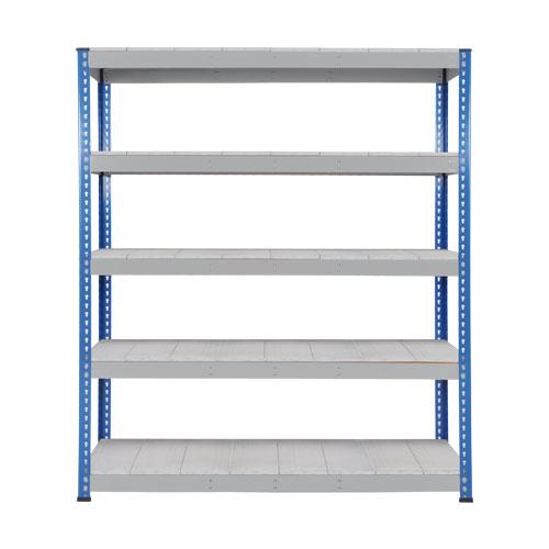 Rapid 1 Heavy Duty Shelving (2440h x 1525w) Blue & Grey - 5 Galvanized Shelves