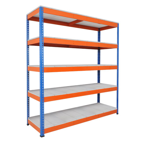 Rapid 1 Heavy Duty Shelving (2440h x 1525w) Blue & Orange - 5 Galvanized Shelves