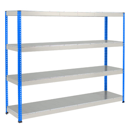 Rapid 1 Heavy Duty Shelving (2440h x 2134w) Blue & Grey - 4 Galvanized Shelves