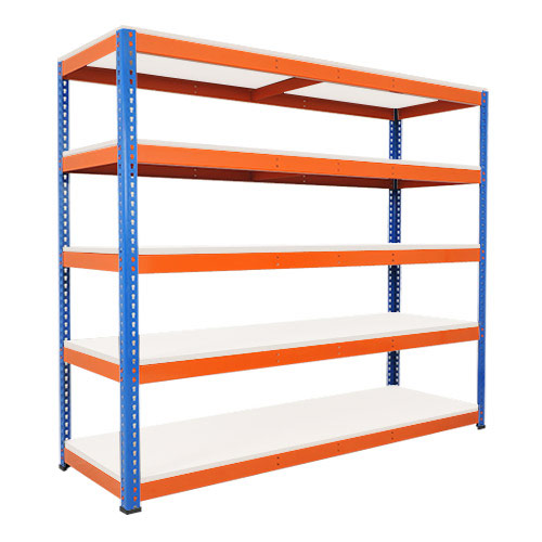 Rapid 1 Heavy Duty Shelving (2440h x 2134w) Blue & Orange - 5 Melamine Shelves