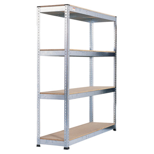 Rapid 1 Heavy Duty Shelving (1980h x 2440w) Galvanized - 4 Chipboard Shelves