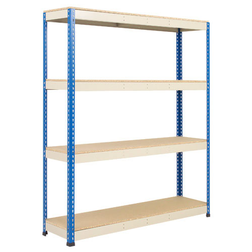 Rapid 1 Heavy Duty Shelving (1980h x 1220w) Blue & Grey - 4 Chipboard Shelves