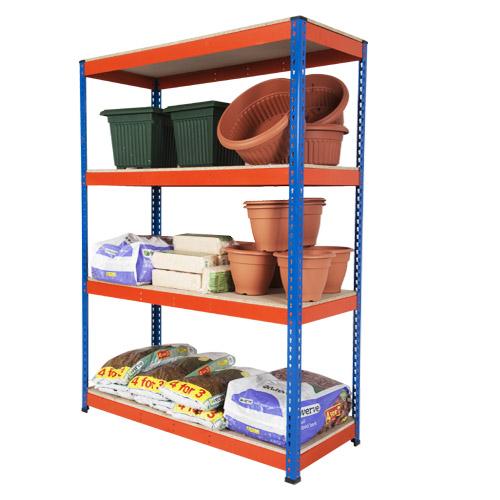 Rapid 1 Shelving (1980h x 1220w) Blue & Orange - 4 Chipboard Shelves