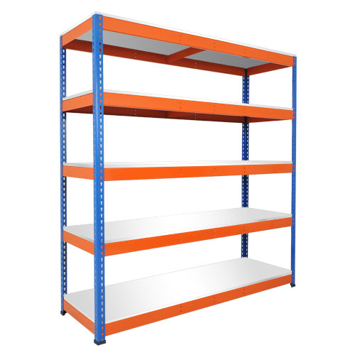 Rapid 1 Shelving (1980h x 1830w) Blue & Orange - 5 Chipboard Shelves