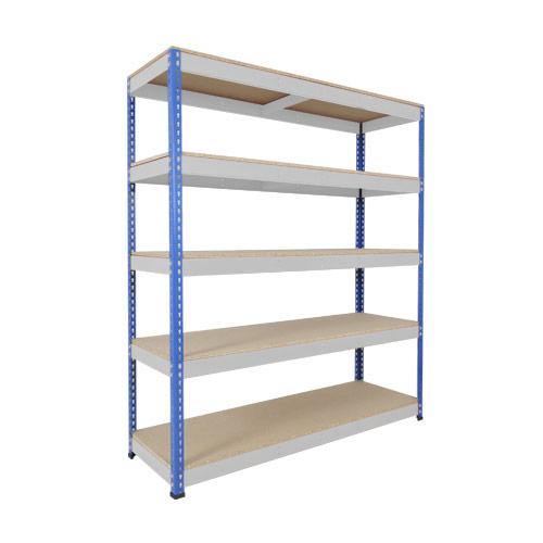 Rapid 1 Shelving (2440h x 1525w) Blue & Grey - 5 Chipboard Shelves
