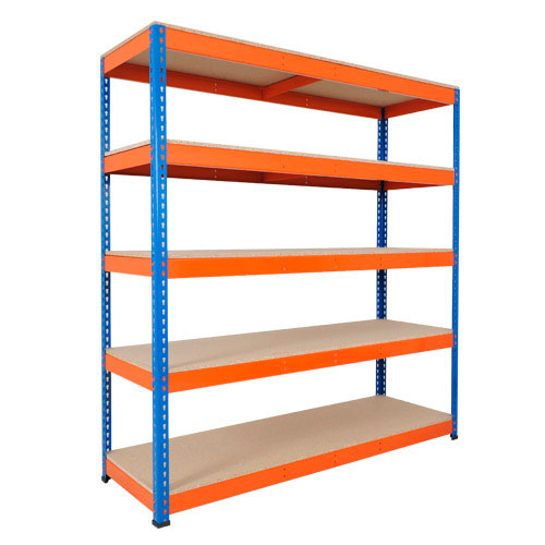 Rapid 1 Shelving (2440h x 1830w) Blue & Orange - 5 Chipboard Shelves