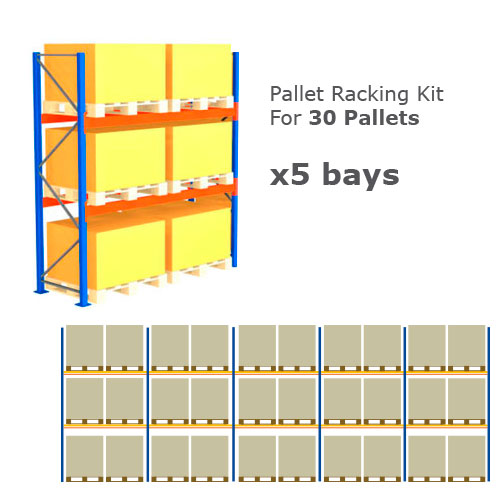 Pallet Racking Kit - Holds 30 Pallets - (H) 1000 x (W) 1200 x (D) 1000