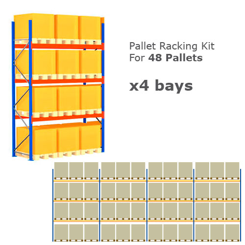 Pallet Racking Kit - Holds 48 Pallets - Sized (H) 1500 x (W) 800 x (D) 1200