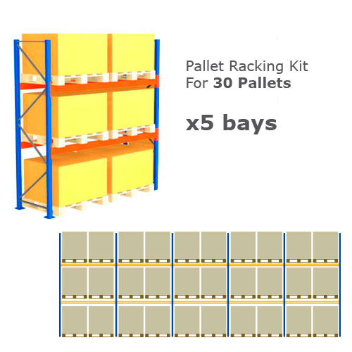 Pallet Racking Kit - Holds 30 Pallets - Sized (H) 1500 x (W) 1200 x (D) 1000
