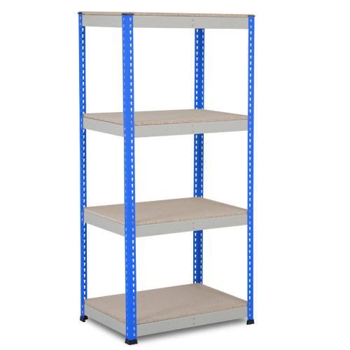 Rapid 1 Heavy Duty Shelving (1980h x 915w) Blue & Grey - 4 Chipboard Shelves