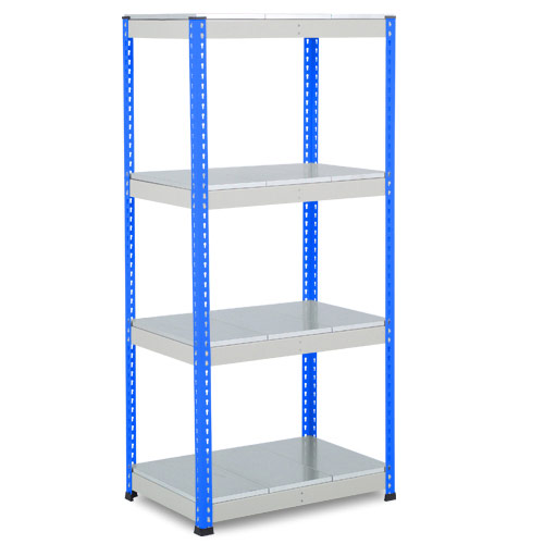 Rapid 1 Heavy Duty Shelving (1980h x 915w) Blue & Grey - 4 Galvanized Shelves
