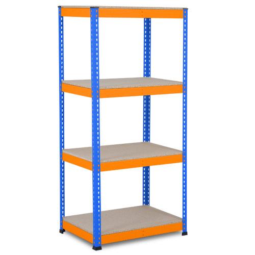 Rapid 1 Heavy Duty Shelving (1980h x 915w) Blue & Orange - 4 Chipboard Shelves