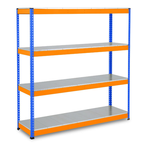 Rapid 1 Heavy Duty Shelving (1980h x 1220w) Blue & Orange - 4 Galvanized Shelves