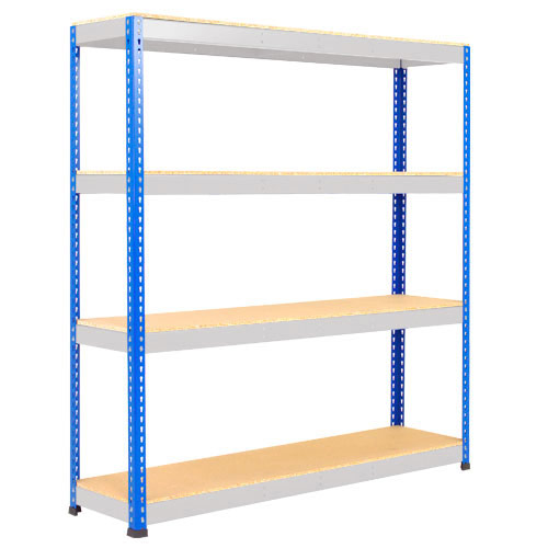Rapid 1 Heavy Duty Shelving (1980h x 1525w) Blue & Grey - 4 Chipboard Shelves