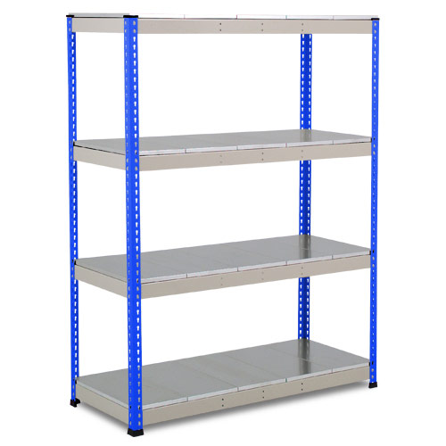 Rapid 1 Heavy Duty Shelving (1980h x 1525w) Blue & Grey - 4 Galvanized Shelves