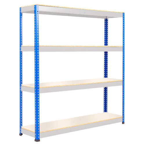 Rapid 1 Heavy Duty Shelving (1980h x 1525w) Blue & Grey - 4 Melamine Shelves