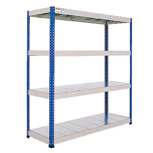 Rapid 1 Heavy Duty Shelving (1980h x 1830w) Blue & Grey - 4 Galvanized Shelves