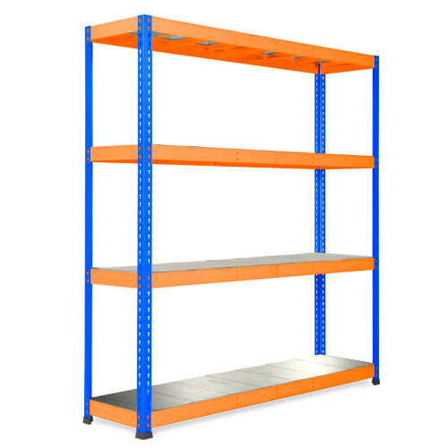 Rapid 1 Heavy Duty Shelving (1980h x 1830w) Blue & Orange - 4 Galvanized Shelves