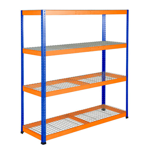 Rapid 1 Heavy Duty Shelving (1980h x 1830w) Blue & Orange - 4 Wire Mesh Shelves