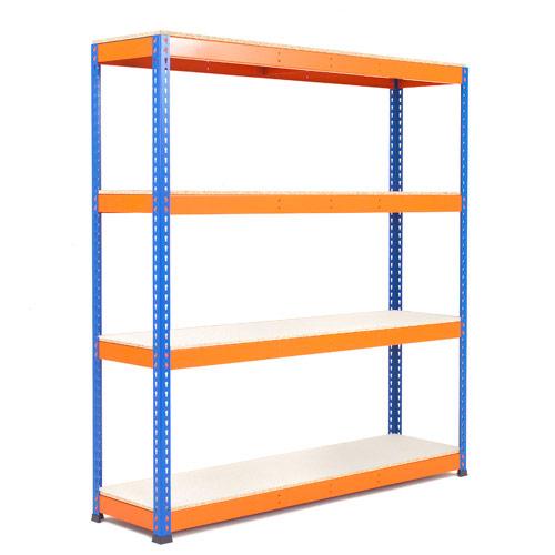 Rapid 1 Heavy Duty Shelving (1980h x 1830w) Blue & Orange - 4 Melamine Shelves