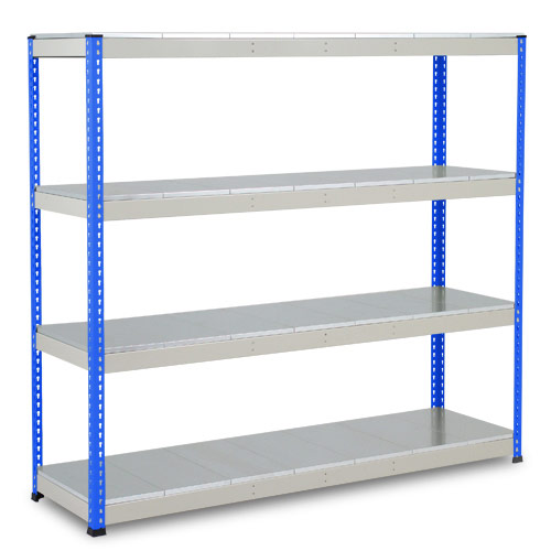 Rapid 1 Heavy Duty Shelving (1980h x 2134w) Blue & Grey - 4 Galvanized Shelves