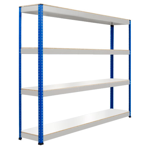 Rapid 1 Heavy Duty Shelving (1980h x 2134w) Blue & Grey - 4 Melamine Shelves