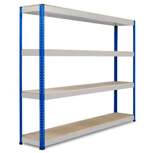 Rapid 1 Heavy Duty Shelving (1980h x 2440w) Blue & Grey - 4 Chipboard Shelves