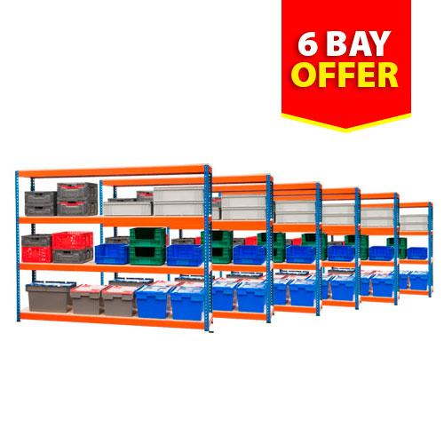 Rapid 1 Shelving- 6 Bay Offer- 4 Shelves Per Bay (1830h x 1830w)