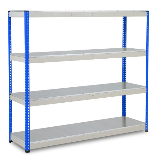 Rapid 1 Heavy Duty Shelving (2440h x 1525w) Blue & Grey - 4 Galvanized Shelves