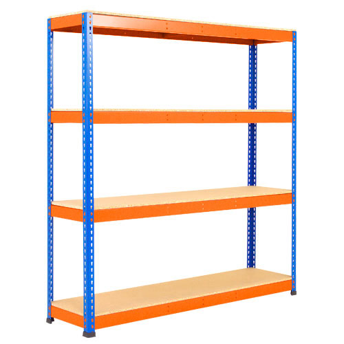 Rapid 1 Heavy Duty Shelving (2440h x 1525w) Blue & Orange - 4 Chipboard Shelves