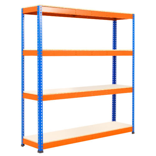 Rapid 1 Heavy Duty Shelving (2440h x 1525w) Blue & Orange - 4 Melamine Shelves