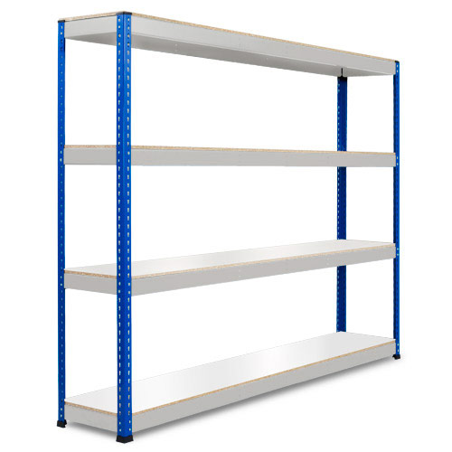 Rapid 1 Heavy Duty Shelving (2440h x 2440w) Blue & Grey - 4 Melamine Shelves