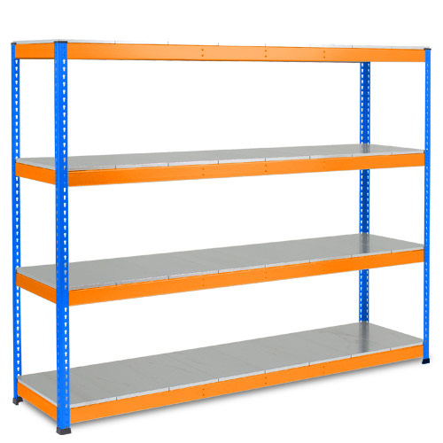 Rapid 1 Heavy Duty Shelving (2440h x 2440w) Blue & Orange - 4 Galvanized Shelves