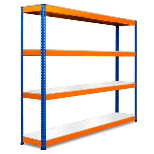 Rapid 1 Heavy Duty Shelving (2440h x 2440w) Blue & Orange - 4 Melamine Shelves