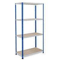 Rapid 2 Blue & Grey Shelving (1600h x 1220w) c/w 4 Chipboard Shelves