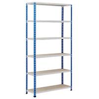 Rapid 2 Blue & Grey Shelving (1980h x 915w) c/w 6 Chipboard Shelves