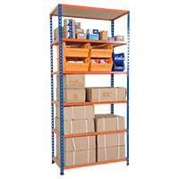 Rapid 2 Blue & Orange Shelving (1980h x 915w) c/w 6 Chipboard Shelves