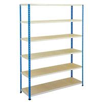 Rapid 2 Blue & Grey Shelving (1980h x 1220w) c/w 6 Chipboard Shelves