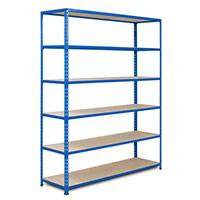 Rapid 2 Blue Shelving (1980h x 1525w) c/w 6 Chipboard Shelves