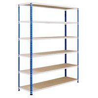 Rapid 2 Blue & Grey Shelving (1980h x 1525w) c/w 6 Chipboard Shelves