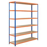 Rapid 2 Blue & Orange Shelving (1980h x 1525w) c/w 6 Chipboard Shelves