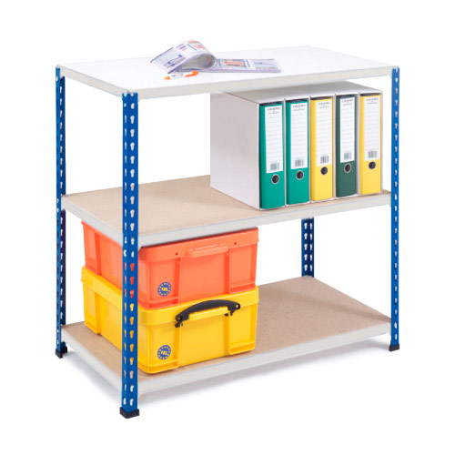 Rapid 2 Shelving (840h x 915w) Blue & Grey- 3 Chipboard Shelves